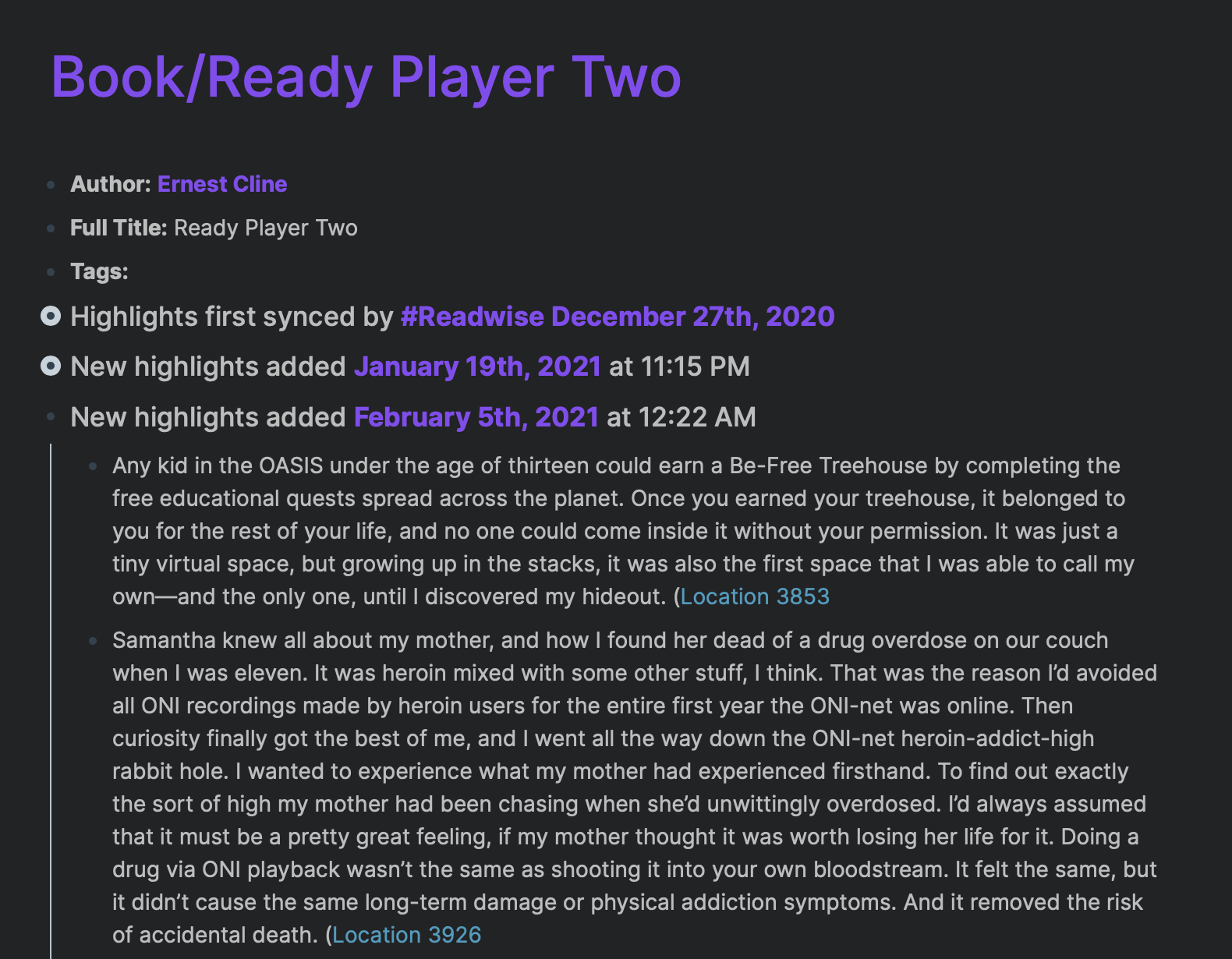 Ready Player Two book notes in Roam, imported via Readwise